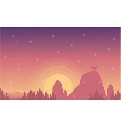 Silhouette of deer on the cliff vector