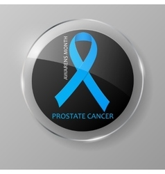 World prostate cancer day button blue ribbon vector