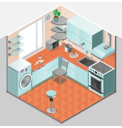 Kitchen interior isometric template vector