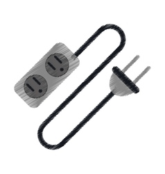 Ed electric extension cord cable and plug vector