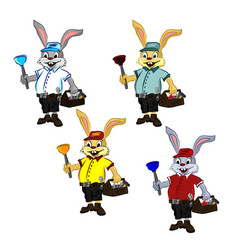 Cheerful mischievous plump rabbit plumber vector