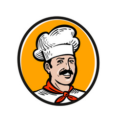 Chef cook logo label or icon for design menu vector