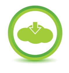 Green download cloud icon vector