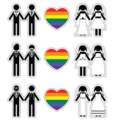 Lesbian brides and gay grooms icon 2 set with vector