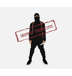 Terrorist with a knife in uniform vector