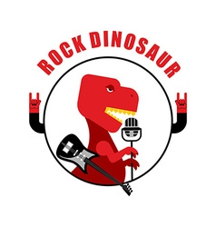 Rock dinosaur emblem for old rock musicians vector