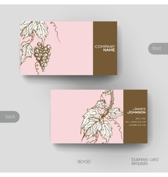 Business card template with grapes ornament vector