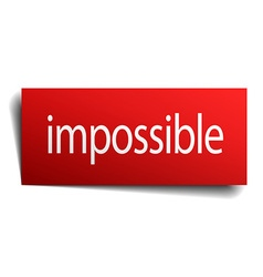 Impossible red square isolated paper sign on white vector