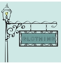 Clothing retro vintage street sign vector