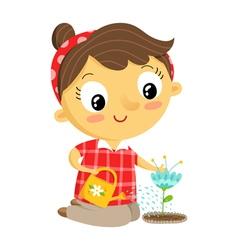 Girl gardener cartoon character isolated on white vector