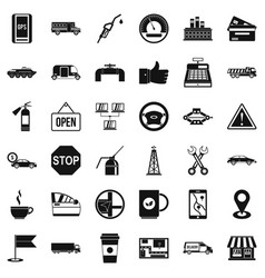 Benzine icons set simple style vector