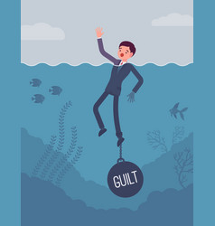 businessman drowning chained with a weight guilt vector image