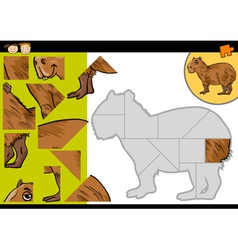 Cartoon capybara jigsaw puzzle game vector