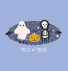 children dressed in halloween costumes of ghost vector image
