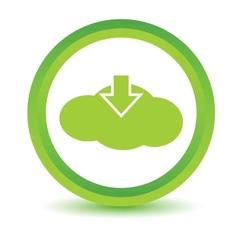 Green download cloud icon vector