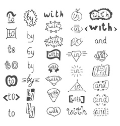 Hand drawn design elements catchwords with and in vector