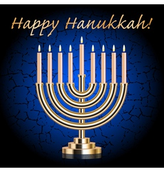 Happy Hanukkah blue wish card vector image vector image