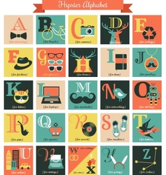 Hipster alphabet concept background with icons vector image vector image