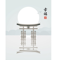 itsukushima shrine vector image vector image
