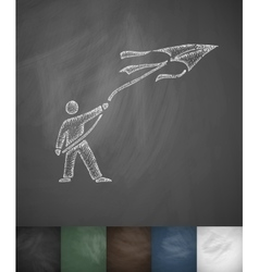 man with kite icon Hand drawn vector image