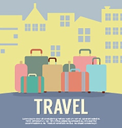 Many luggage in front of building travel concept vector