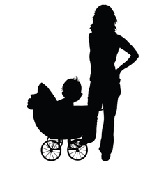 mother and baby in the pram vector image vector image