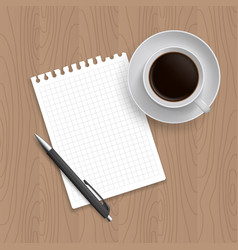Pen coffe and blank paper vector