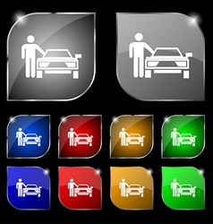 Person up hailing a taxi icon sign set of ten vector