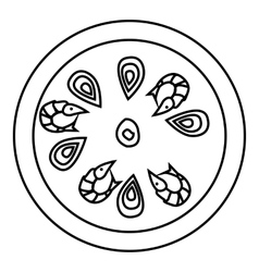Pizza with shrimp icon outline style vector