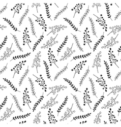 Seamless pattern of black and white leaves vector image vector image