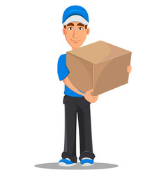 Smiling delivery man in blue uniform holding big vector