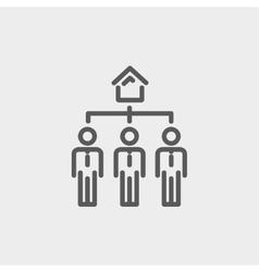 Three real estate agent in one house thin line vector image