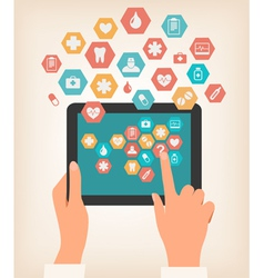 Two hands touching screen of a tablet with medical vector image vector image