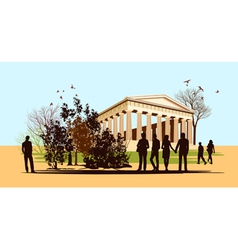 walking people in Greece vector image