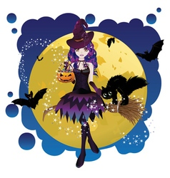 Witch and Full Moon3 vector image