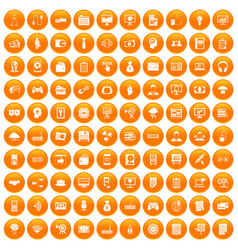 100 it business icons set orange vector