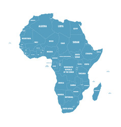 simple flat blue map of africa continent with vector image