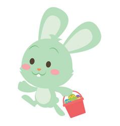 Easter green bunny character art vector