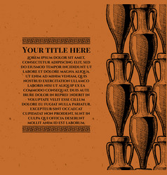 Template with ancient amphora vector