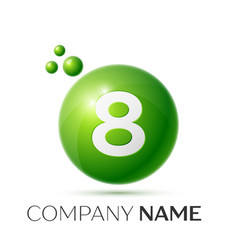 number eight splash green dots and bubbles number vector image
