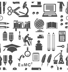 Retro school silhouettes things seamless vector
