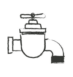 Monochrome blurred silhouette of faucet icon vector