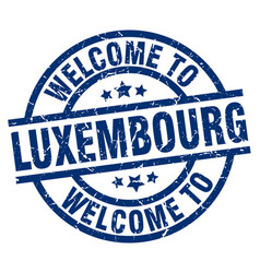 Welcome to luxembourg blue stamp vector