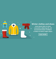 Winter clothes and shoes banner horizontal concept vector