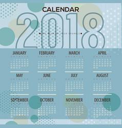 2018 blue dots pattern printable calendar vector