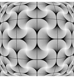 Design monochrome warped grid decorative pattern vector