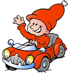 Hand-drawn of an happy christmas elf driving in a vector
