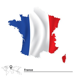 Map of france with flag vector