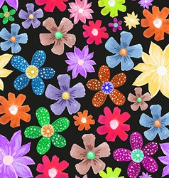 Wildflower pattern on black vector