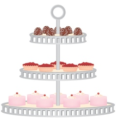 Three tiered dessert stand with desserts vector